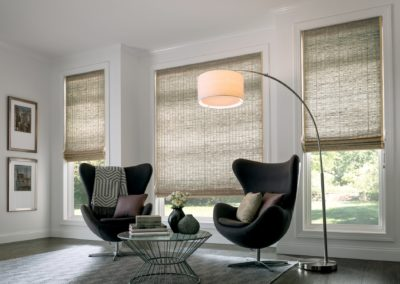 Natural shade with cordless lift and privacy liner