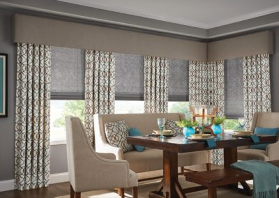 Roman Natural Shade with Motorized Lift. Drapery with Back Tab. Premium Fabric Wrapped Linear Cornice