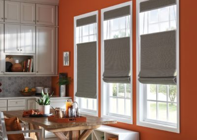 Roman Woven Wood Shades with Bottom up.Top down Cord Lift and privacy liner
