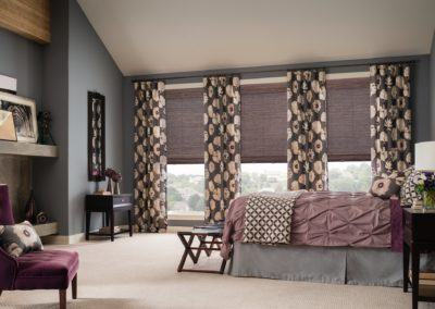 natural shade with cordless lift with drapery and 6 inch premiere valance